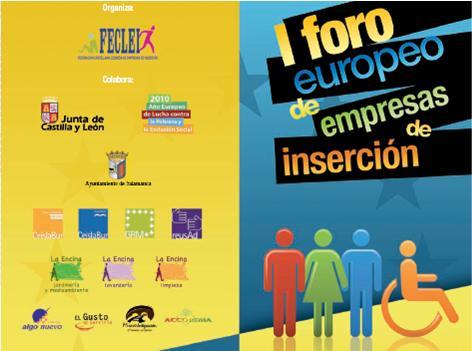 I Foro Europeo de Empresas de Inserción 25 Octubre en Salamanca